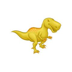 Cartoon Tyrannosaurus Rex. Prehistoric reptile. Large green dinosaur. Colorful flat vector element for mobile game or children s encyclopedia.