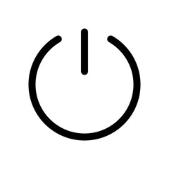 Power button icon. Symbol of start or turn on. Outline modern design element. Simple black flat vector sign with rounded corners.