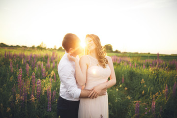 Beautiful couple, bride, groom kissing and hugging in the field sunset
