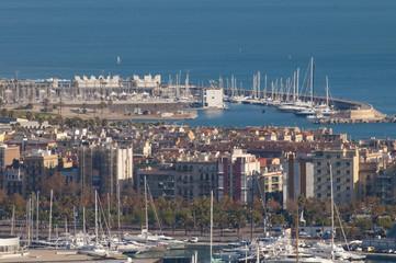 Poster Ville sur l eau View Over Barcelona Marina
