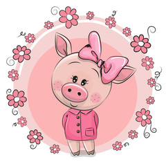 Greeting card Cute Pig with flowers