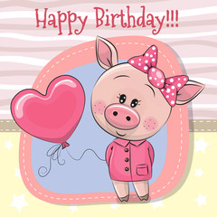 Greeting card Cute Pig girl with balloon
