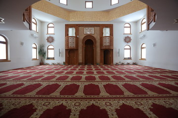 Interior of the mosque Omer ibn Hattab, Sarajevo, Bosnia and Herzegovina