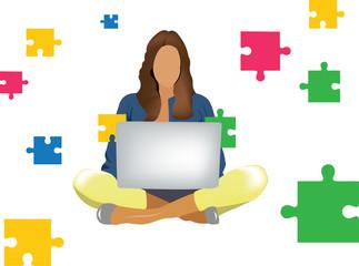 ragazza seduta con il computer gioca