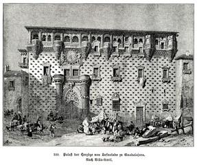 Palace of the Dukes of the Infantado, Guadalajara, Spain; painting of Jenaro Pérez Villaamil (from Spamers Illustrierte Weltgeschichte, 1894, 5[1], 740)