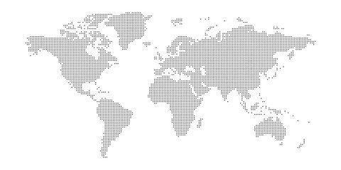 Wall Mural - Vector dotted world map.