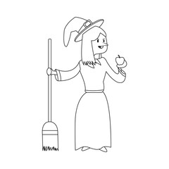 Witch with broom stick and apple icon vector illustration graphic design