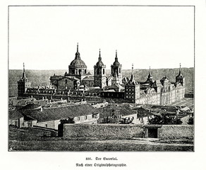 El Escorial, historical residence of the King of Spain, circa 1890 (from Spamers Illustrierte Weltgeschichte, 1894, 5[1], 741)