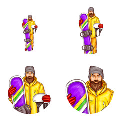 Vector set of male round avatars for users of social networks, blogs, profile icons in pop art style. Young man with beard and mustache, extreme sports lover in yellow suit holds snowboard and helmet