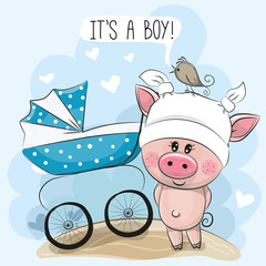 Greeting card its a boy with baby carriage and Piggy