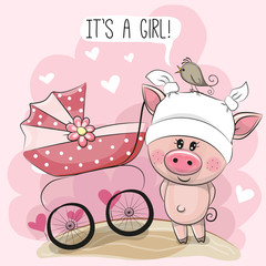 Greeting card it is a girl with baby carriage and piggy