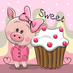 Greeting card Cute Pig with cake