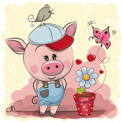 Greeting card cute Pig with flower
