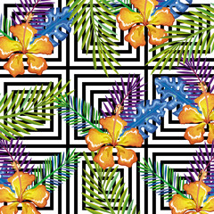 tropical flower with abstract background vector illustration design leaves and flowers, summer and geometric pattern