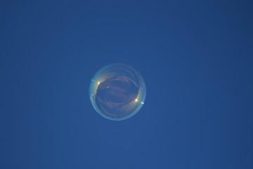 soap bubble against the blue sky