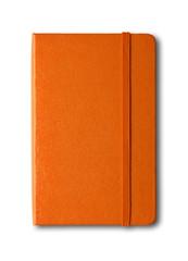 Orange closed notebook isolated on white