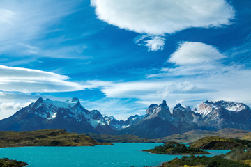 Pehoe lake and Guernos mountains beautiful landscape, national park Torres del Paine, Patagonia, Chile, South America