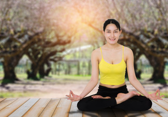 beautiful asian woman practice yoga pose with natural tree in park blur bokeh background.
