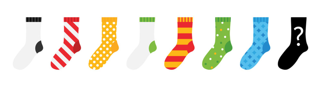 Set, collection of colorful socks icons with different ornaments isolated on white background.