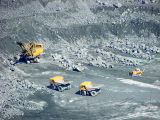 Loading ore in the western quarry Kachkanarskogo GOKa. Sverdlovsk region. Russia