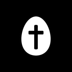 Easter egg with a cross vector icon. Easter concept. Sign, solid symbol, icon for websites, web design, mobile app on black background