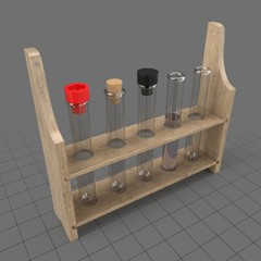 Test tubes in a wooden rack