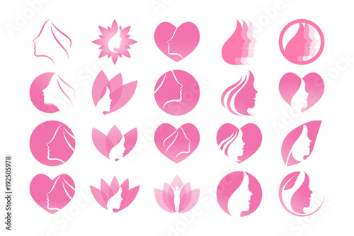 collection of pink spa aesthetic logo and icon template vector