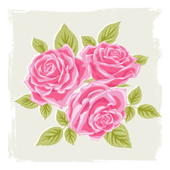 Template of decorative roses. Bouquet. Freehand drawing