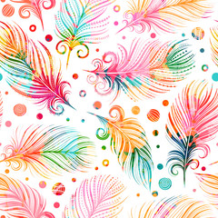 Seamless pattern with feathers. Freehand drawing. Can be used on packaging paper, fabric, background for different images, etc.