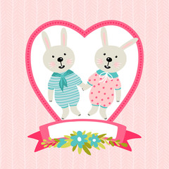 Template greeting card or invitation with rabbits. Can be used for scrapbook, print and etc