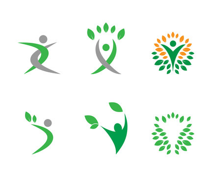 Collection of wellness logo and icon  template vector
