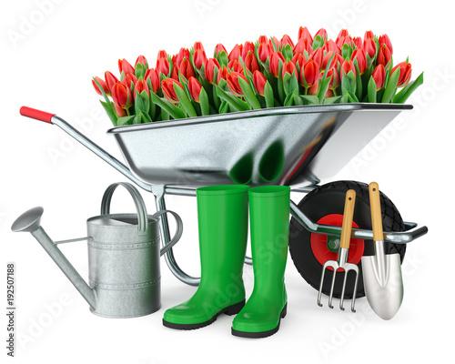 Schubkarre mit Blumen, Gummistiefel, Gießkanne, Schaufel und ...