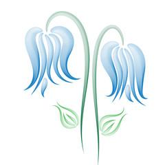 Two delicate blue flowers, pattern
