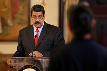Venezuela's President Nicolas Maduro attends a news conference in Caracas