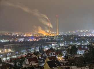 The city Jena at night overlooking the heating plant from Lobeda Ost
