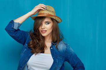 Portrait of beautiful teenager girl wearing jeans denim shirt.