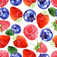 Watercolor berries seamless pattern isolated on white background