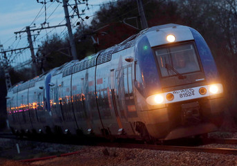 A train arrives at the French state-owned railway company SNCF station of Castelnau d'Stretefonds