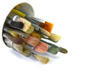 Various dirty paint brushes. Artistic brushes isolated on white background.