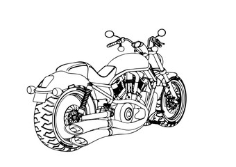 sketch of a motorcycle vector.