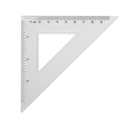 transparent triangle ruler, isolated on white background, with clipping path