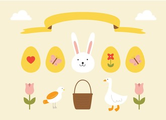Happy easter, egg and basket vector collection of cute spring elements