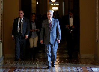Senate Majority Leader Mitch McConnell (R-KY) walks to the Senate floor before a series of votes on immigration reform in Washington