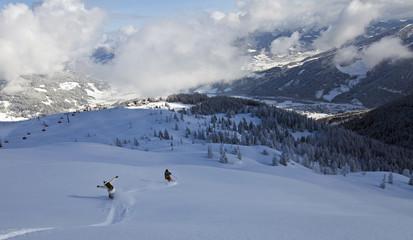 Snowboarden und Skifahren am Grießenkar in Flachau