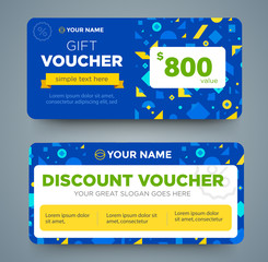 discount voucher template with colorful pattern