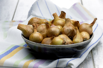 Onion on rustic table