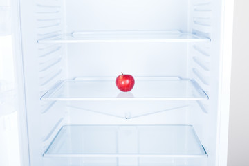 Red apple fruit in clean refrigerato inside