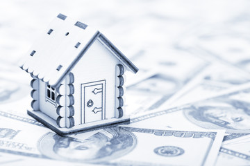 Wooden model of house on dollar banknotes background