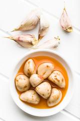 Tasty preserved garlic.