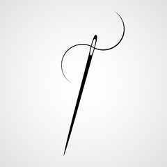 Sewing needle and thread. Icon